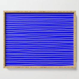 Cobalt Pinstripes Serving Tray