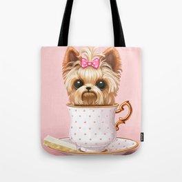 Yorkie In A Teacup Tote Bag