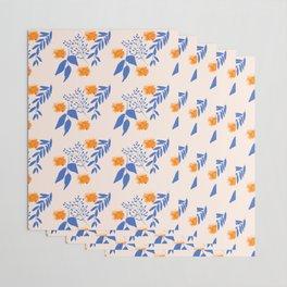 Floral Pattern Indigo Orange Blue Wrapping Paper