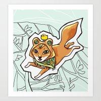 Red Wolf Traveler Art Print