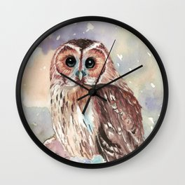 """""""No post on sundays"""" - Owl in the snow Wall Clock"""
