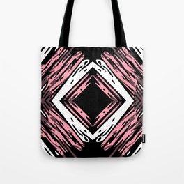 Pink + Black Scribble Diamond Pattern Tote Bag