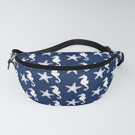 Seahorse and Starfish, Navy Blue and White Fanny Pack