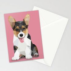 Low Poly Corgi. Stationery Cards