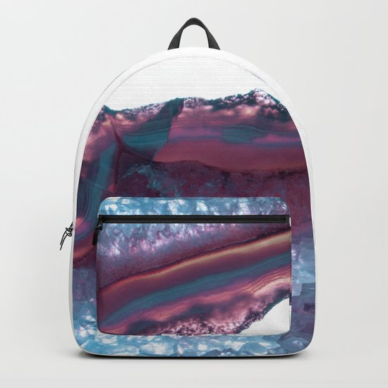 Double Light Blue and Pink Agate Backpack
