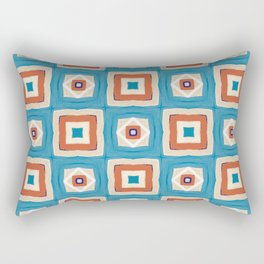 beige and orange square on teal pattern Rectangular Pillow
