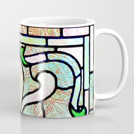 Delicate Stained-glass in Victorian Green Detail Coffee Mug