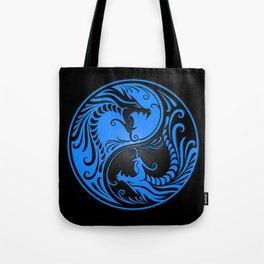 Blue and Black Yin Yang Dragons Tote Bag