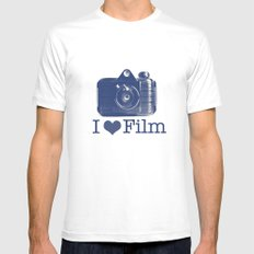 I ♥ Film (Blue/Peach) SMALL White Mens Fitted Tee