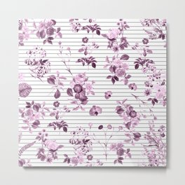 Purple Floral and Minimal Thin Black and White Stripes Metal Print