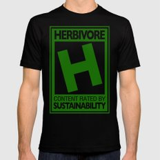 Rated H for Herbivore MEDIUM Mens Fitted Tee Black