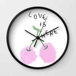 Love Is Here - Cherry Painting Fruit Illustration Food Kitchen Love Wedding Couple Marriage Gift Wall Clock