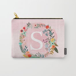 Flower Wreath with Personalized Monogram Initial Letter S on Pink Watercolor Paper Texture Artwork Carry-All Pouch