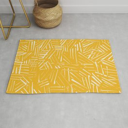 Yellow hatching mudcloth Rug