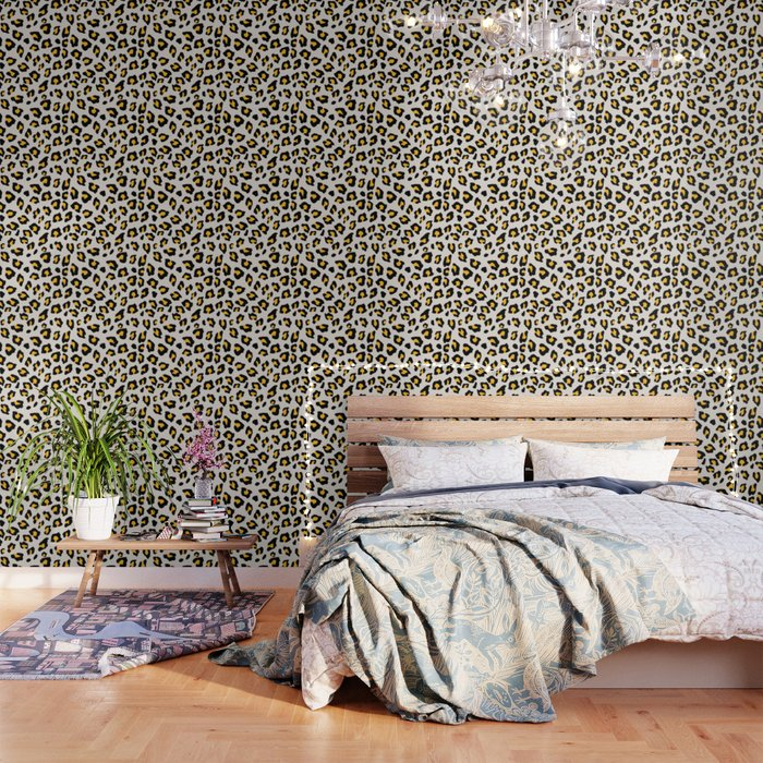 Leopard Print - Mustard Yellow Wallpaper