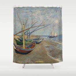 Vincent van Gogh - Fishing Boats on the Beach at Les Saintes-Maries-de-la-Mer Shower Curtain