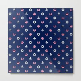 Galactic Pattern in Blue Pink and White Metal Print
