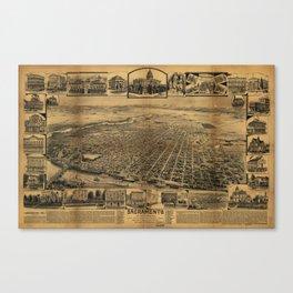 Aerial View of Sacramento, California (circa 1890) Canvas Print