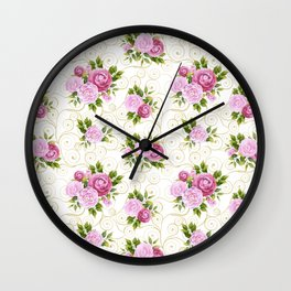 Elegant pink lavender green watercolor floral swirls pattern Wall Clock