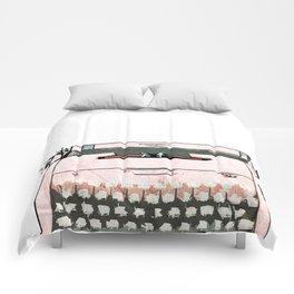 Simple Modern Retro Pop Art Pink Typewriter Print Comforters