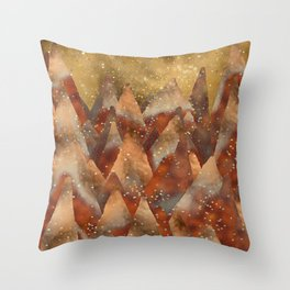Abstract Copper  Gold Glitter Mountain Dreamscape Throw Pillow