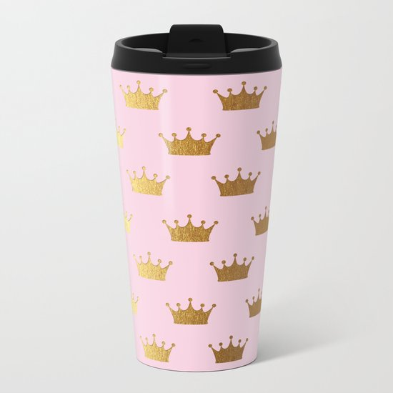 Gold Glitter effect crowns on pink - Royal Pattern for Princesses on #Society6 Metal Travel Mug