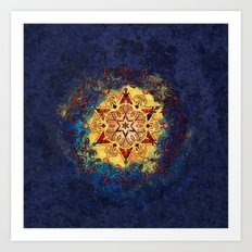 Star Shine in Gold and Blue Art Print