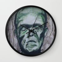 frankenstein Wall Clocks featuring Frankenstein by Shellie Mix