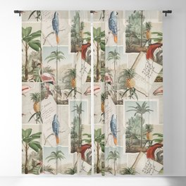 Retro Nostlgic Tropical Journey Collage Art With Birds Blackout Curtain