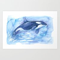 orca Art Prints featuring Orca by Nicole Marie Walker
