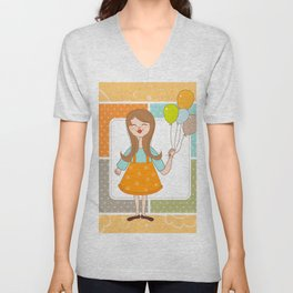 Adorable Cute Girl and Her Balloons Unisex V-Neck