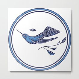Delft Blue Humming Birds & Leaves Pattern Metal Print
