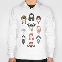 middle earth Hoodies featuring The Unwritten Lady Dwarves of Middle Earth by geeksweetie
