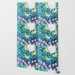 the moon, stars, luna moths, & dandelions Wallpaper