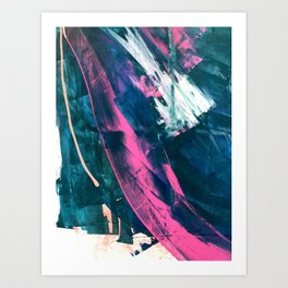 Wild [4]: a bold, vibrant abstract minimal piece in teal and neon pink Art Print