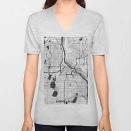 Minneapolis Map Gray Unisex V-Neck