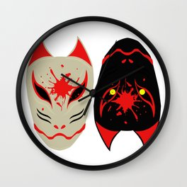 "Japanese Fox Mask ""Good and Evil"" Wall Clock"