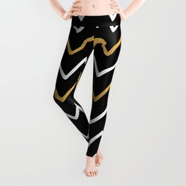 Writing Exercise-Simple Zig Zag Pattern- White Gold on Black -Mix & Match with Simplicity of life Leggings