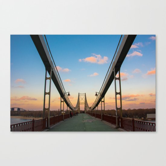 Pedestrian bridge in Kiev Canvas Print