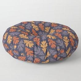 Autumn oak leaves and acorns pattern (dark background) Floor Pillow