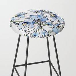 Blue Delphinium Flowers Bar Stool