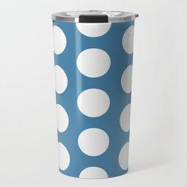 Large Polka Dots on Blue Travel Mug