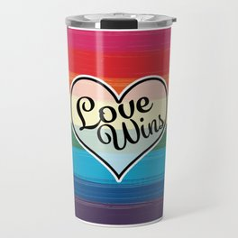 LGBTQ+ Pride Love Wins Paint Stroke Design Travel Mug