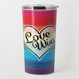 LGBTQ+ Pride Love Wins Paint Stroke Design Travel Mug