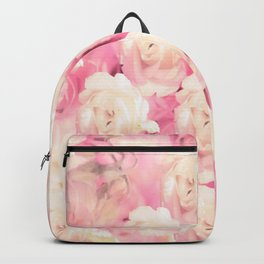 White and pink flowers in summer romance - vintage style Backpack