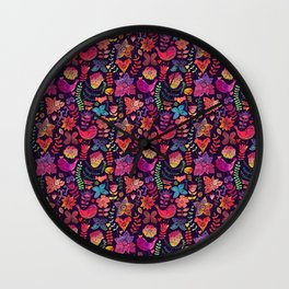 Watercolor birds and flowers Wall Clock