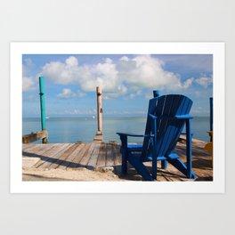 Blue Chair Islamorada Art Print