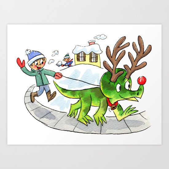 Rudolph the Red-Nosed Triceratops Art Print