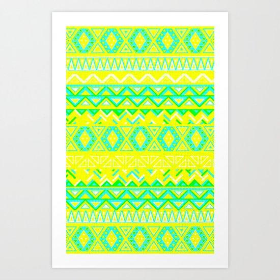India Style Pattern (Neon) Art Print
