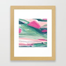 Sea cliffs abstract in pink and green Framed Art Print